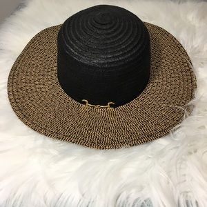 Accessories - New Floppy Paper Straw Black and Tan Hat